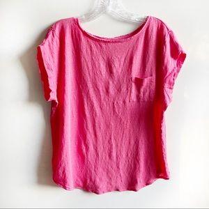 Ann Taylor LOFT 100% linen pocket tee pink
